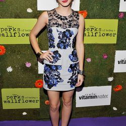 """Emma appropriately wore a floral print at a party for """"The Perks of Being a Wallflower."""""""