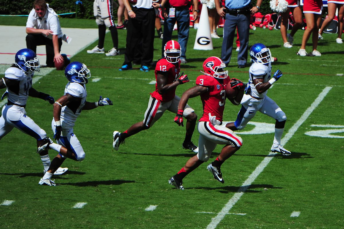 ATHENS, GA - SEPTEMBER 1: Todd Gurley #3 of the Georgia Bulldogs returns a punt for a 4th quarter touchdown against he Buffalo Bulls at Sanford Stadium on September 1, 2012 in Athens, Georgia. (Photo by Scott Cunningham/Getty Images)