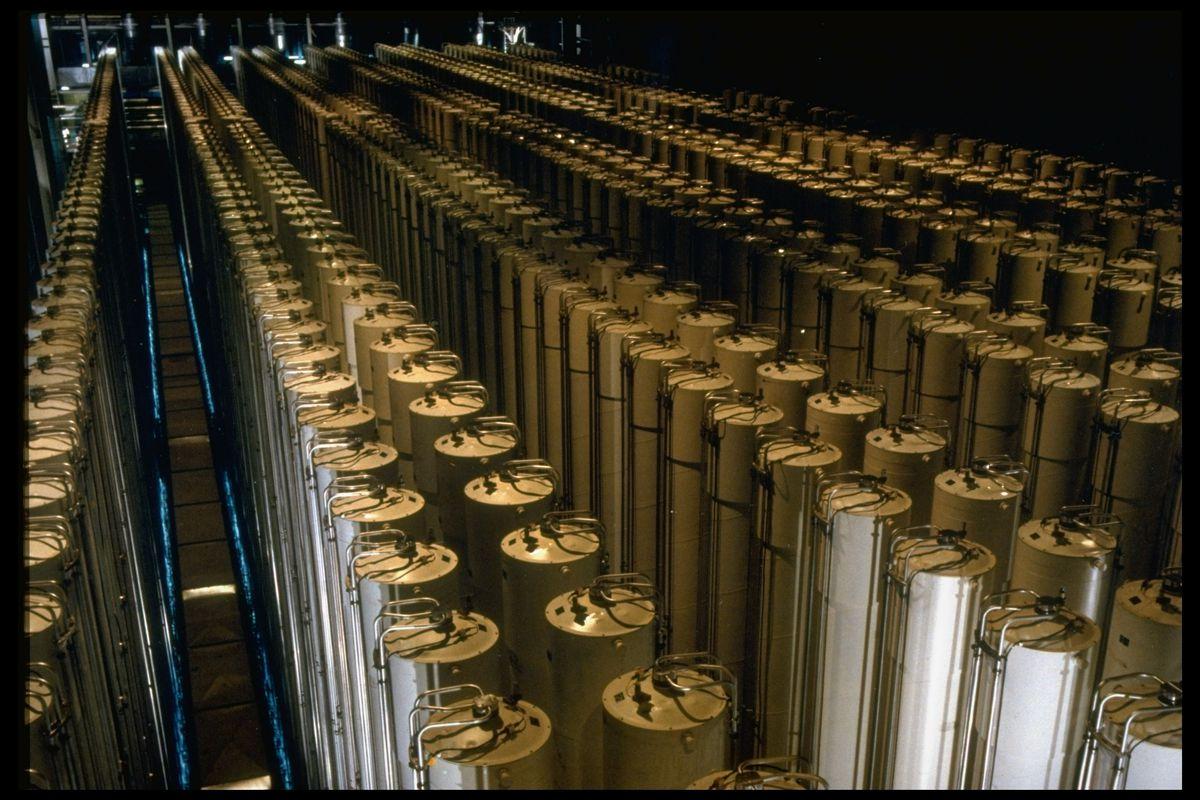 A uranium enrichment centrifuge cascade.