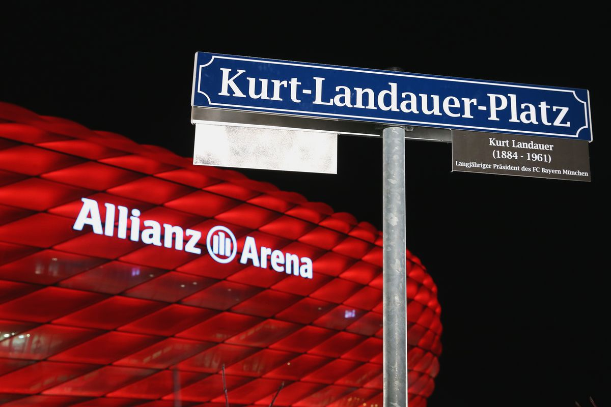 MUNICH, GERMANY - DECEMBER 15: General view during the unveiling of the new Kurt-Landauer-Platz at the Allianz Arena Esplanade in memory of the former FC Bayern Muenchen President Kurt Landauer prior to the round of 16 DFB Cup match between FC Bayern Muenchen and Darmstadt 98 at Allianz Arena on December 15, 2015 in Munich, Germany.