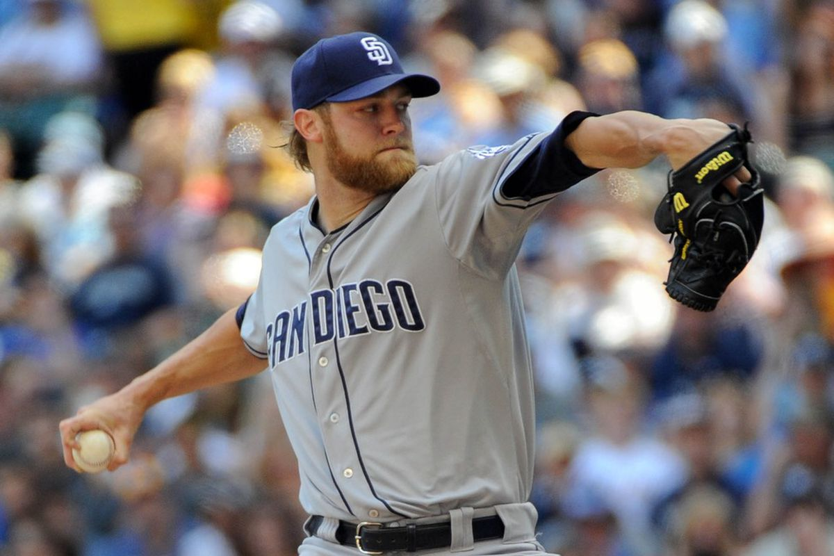 June 9, 2012; Milwaukee, WI, USA;  San Diego Padres pitcher Andrew Cashner (34) pitches against the Milwaukee Brewers in the first inning at Miller Park.  Mandatory Credit: Benny Sieu-US PRESSWIRE