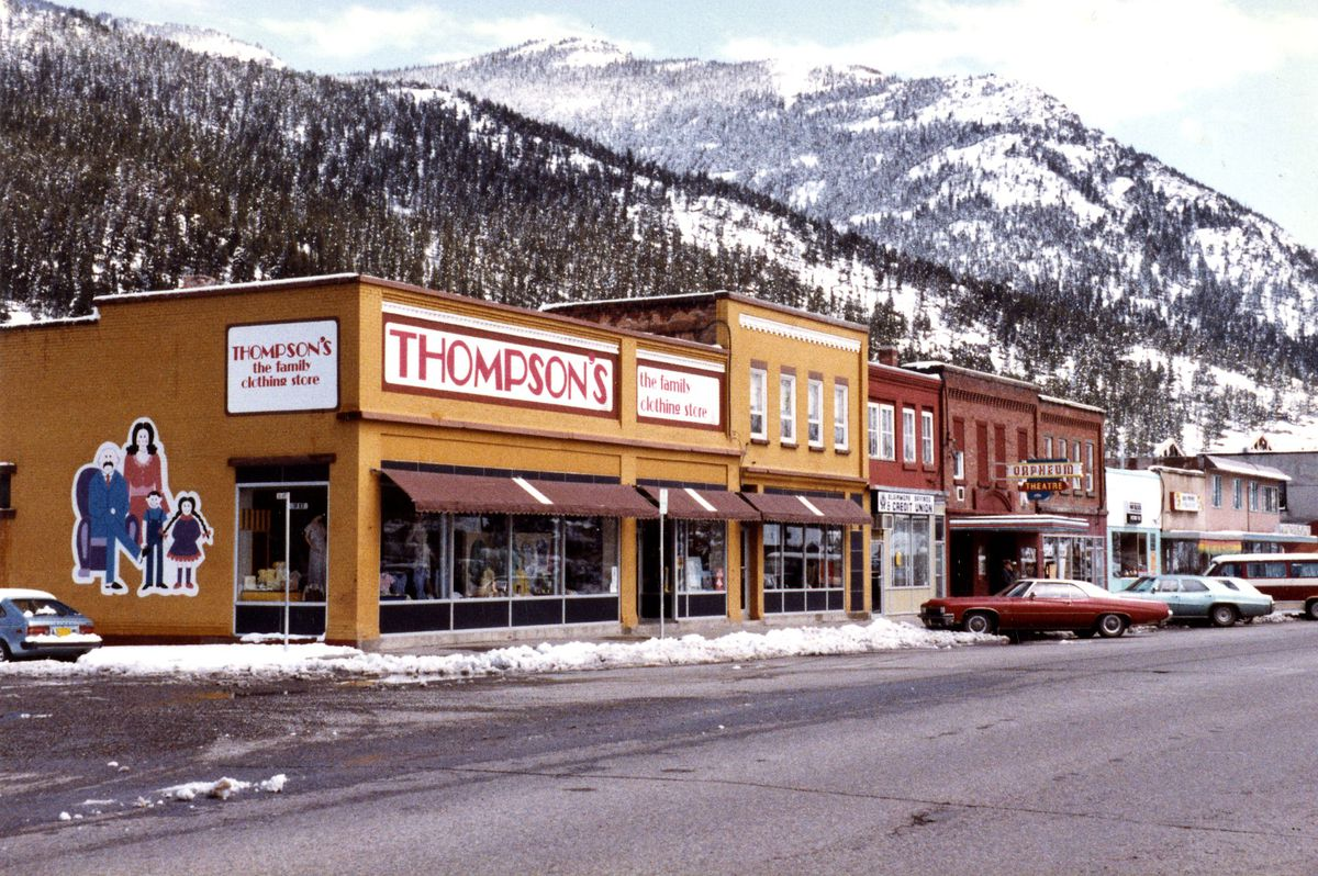 A 1981 photo of a department store and other stores in Blairmore, Alberta.
