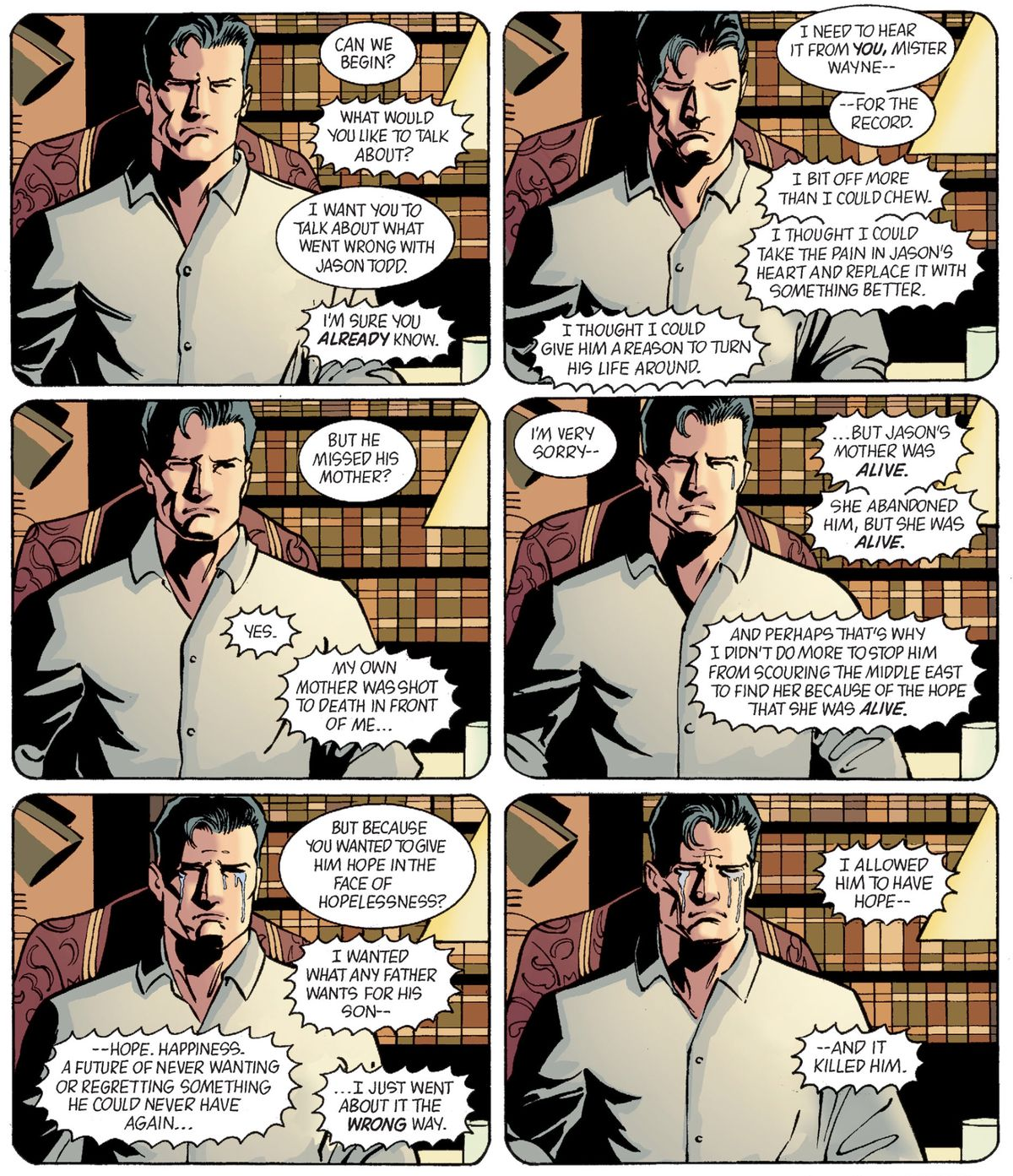 """Tears slide down Bruce Wayne's face as he says that he allowed Jason Todd to have hope, """"and it killed him,"""" in Batman: Gotham Knights #45, DC Comics (2003)."""
