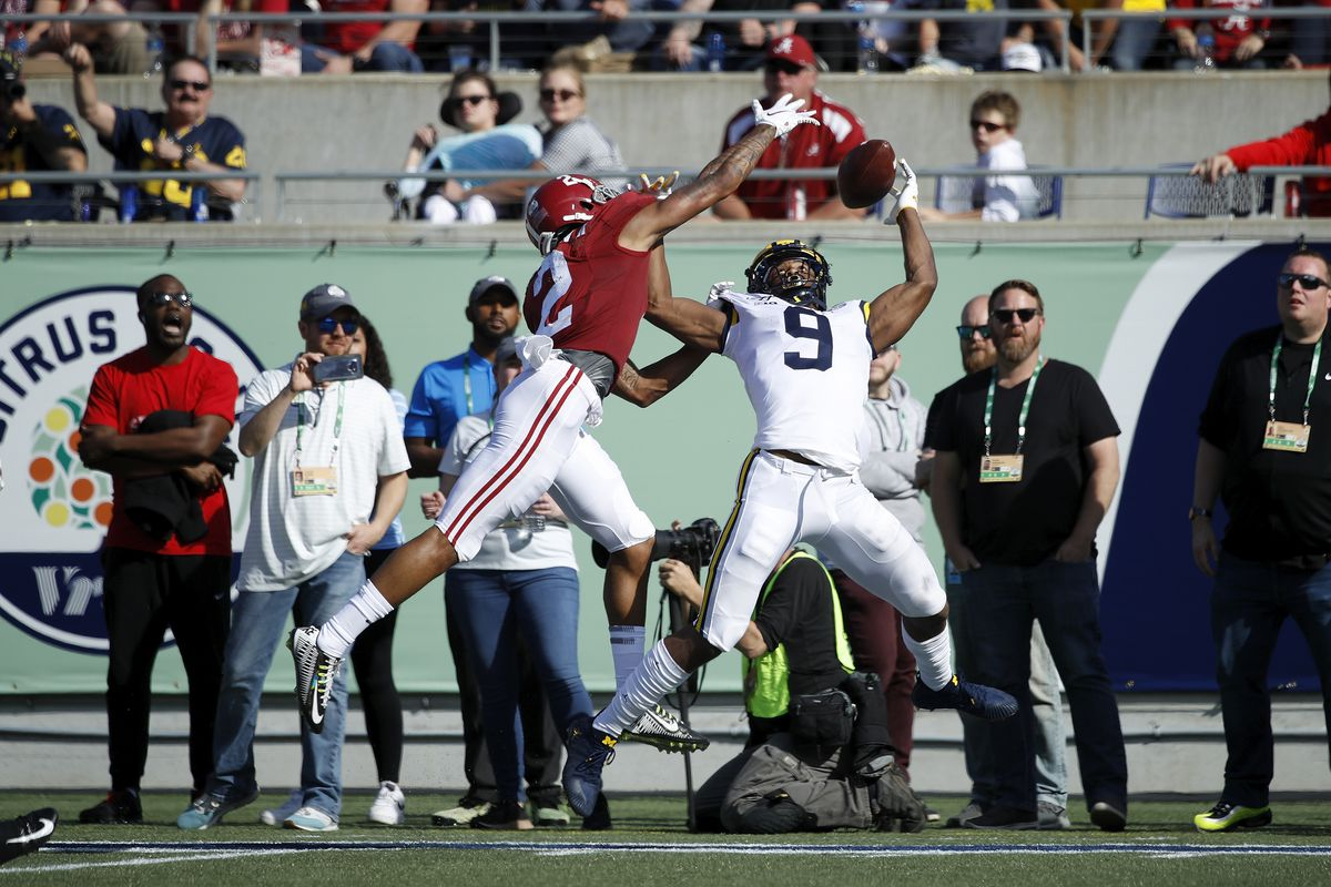 Patrick Surtain II of the Alabama Crimson Tide breaks up a pass in the end zone against Donovan Peoples-Jones of the Michigan Wolverines in the second quarter of the Vrbo Citrus Bowl at Camping World Stadium on January 1, 2020 in Orlando, Florida.