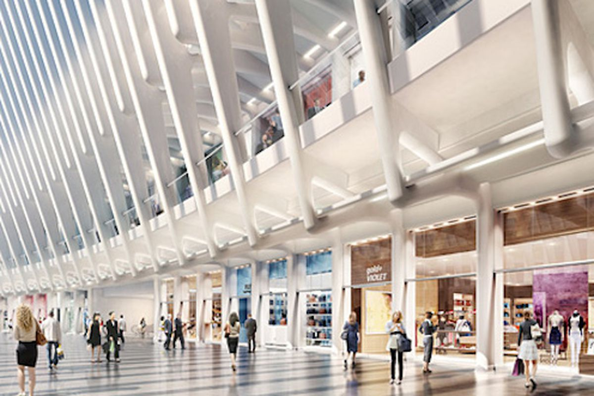 """A rendering of the Oculus, the World Trade Center retail center, via <a href=""""http://therealdeal.com/blog/2014/04/25/world-trade-center-takes-soho-turn-in-main-hall/"""">The Real Deal</a>"""