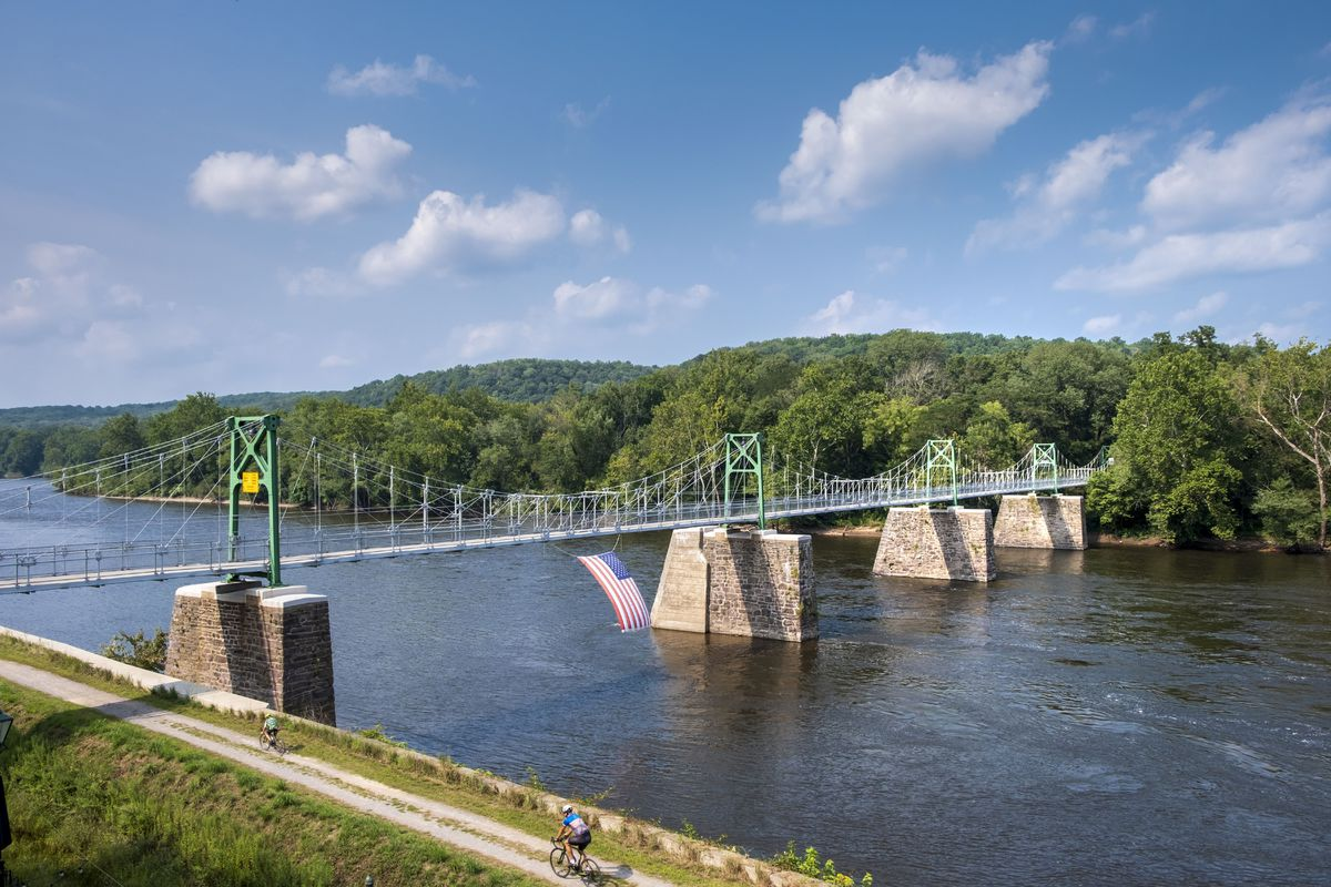 Bridge from PA to NJ over Delaware River, to Bull's Island, part of the Delaware and Raritan Canal State Park, New Jersey, USA