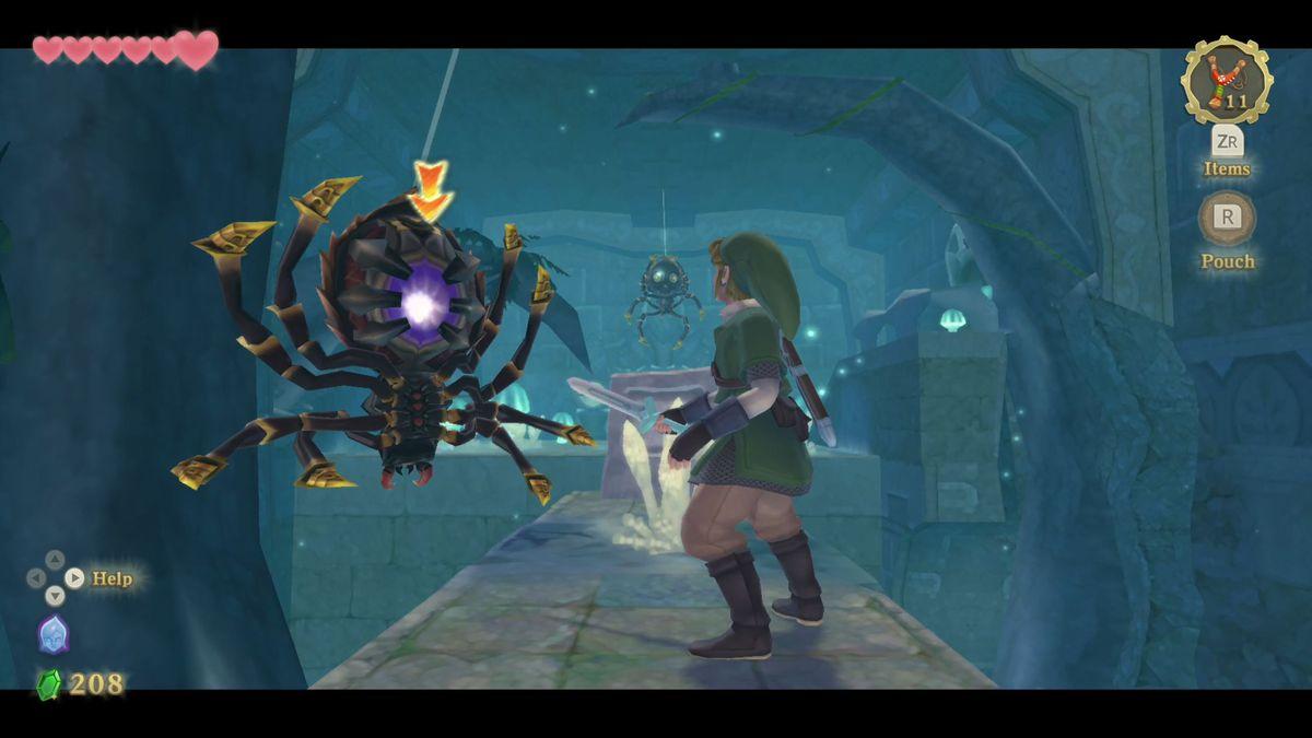 Link faces a Skulltulain The Legend of Zelda: Skyward Sword HD