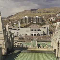 The Conference Center and the Salt Lake Temple during the 190th Annual General Conference of The Church of Jesus Christ of Latter-day Saints in Salt Lake City on Sunday, April 5, 2020.
