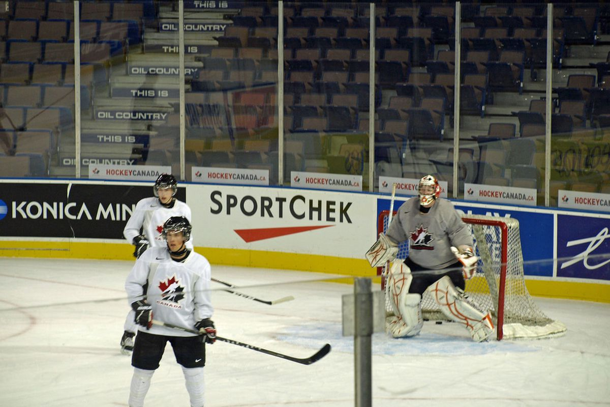 Tyler Bunz and Ryan Nugent-Hopkins at Rexall Place for Team Canada development camp.