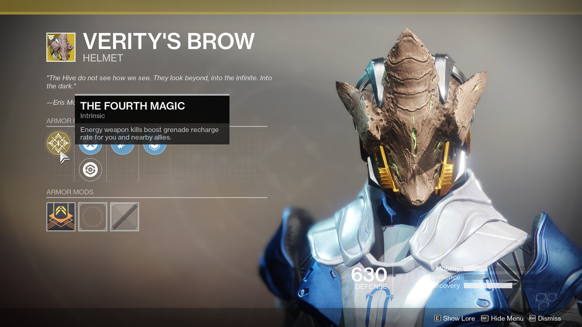 Verity's Brow Exotic Destiny 2