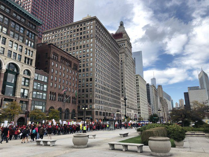 A Chicago Teachers Union rally shut down the northbound lanes of Michigan Avenue on the seventh day of the union's strike.