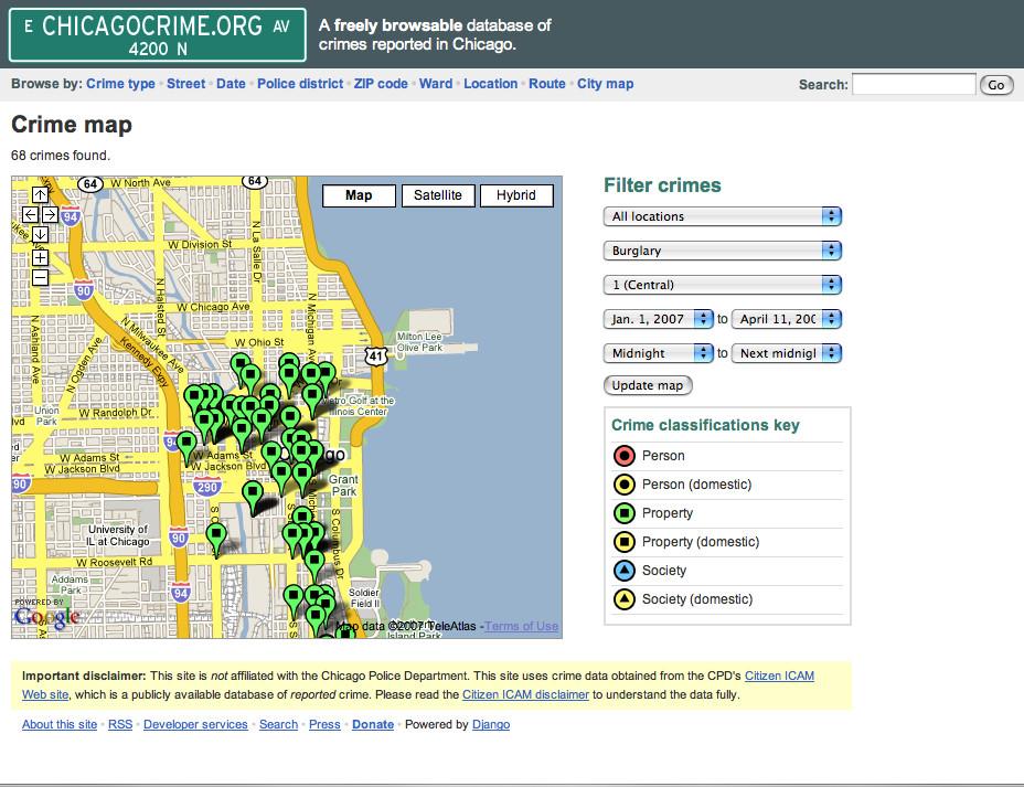 Screenshot of crime map at Chicagocrime.org