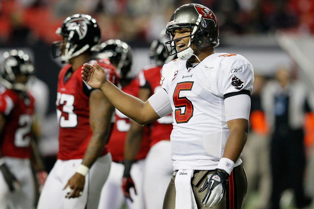 ATLANTA, GA - JANUARY 01:  Josh Freeman #5 of the Tampa Bay Buccaneers reacts after a failed conversion against the Atlanta Falcons at Georgia Dome on January 1, 2012 in Atlanta, Georgia.  (Photo by Kevin C. Cox/Getty Images)