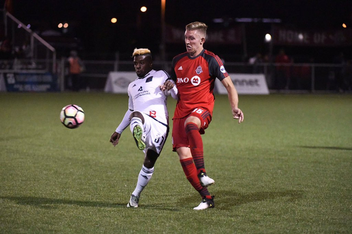 USL Photo - TFC II's Lars Eckenrode had his hands full with Bethlehem's Chris Nanco up the flank on Friday night
