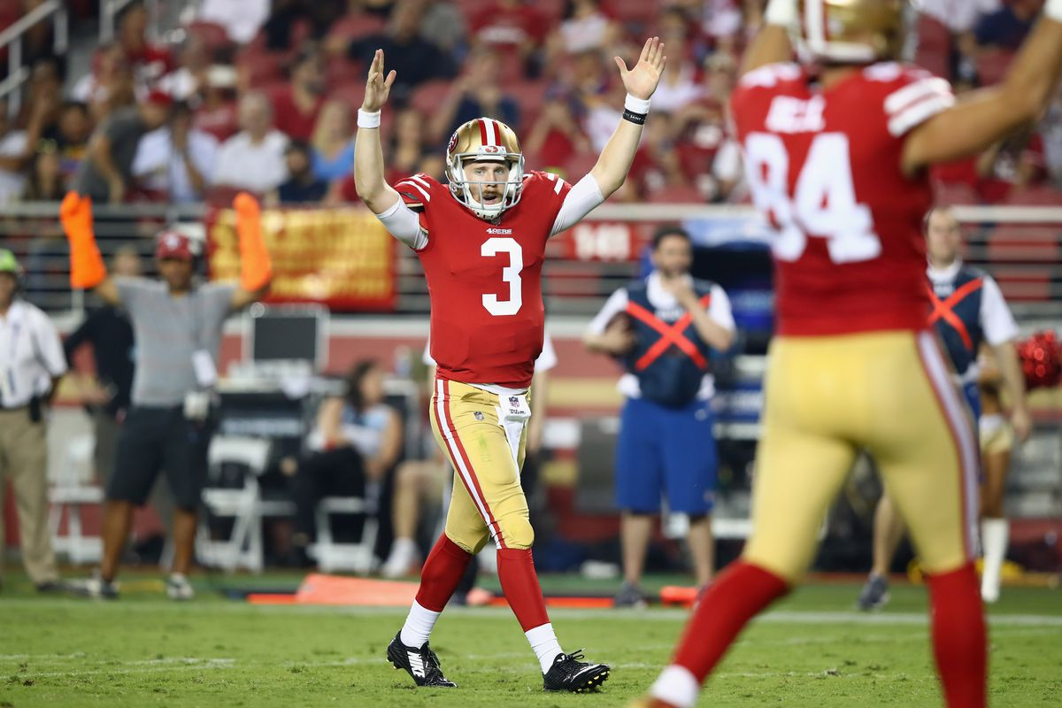 San Francisco 49ers quarterback C.J. Beathard (3) passes against the Denver  Broncos in the Next Up In San Francisco 49ers News ... ed67865dc