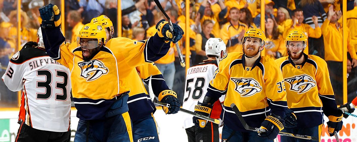 P.K. Subban (left), Colin Wilson (center), and Colton Sissons celebrate a goal (GettyImages)