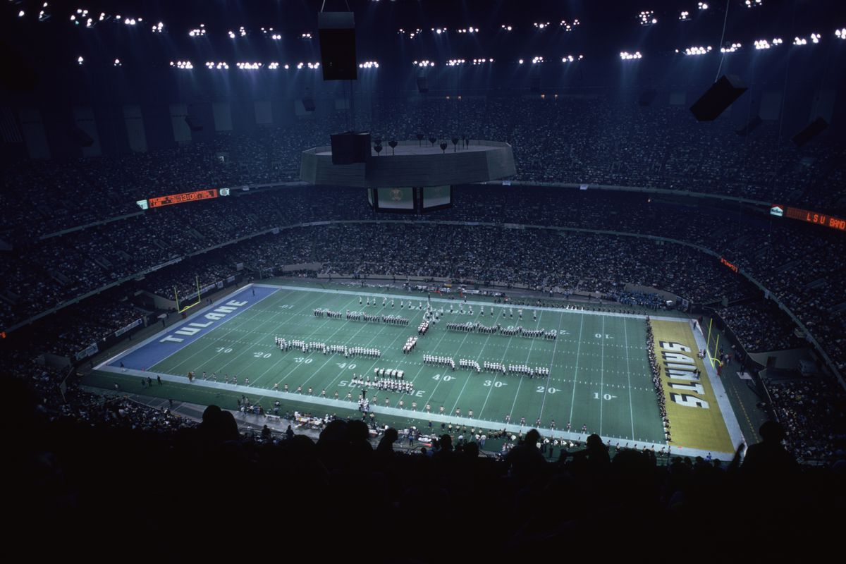 December 1979:  A game of collegiate football at the Superdome, New Orleans between Tulane and LSU.