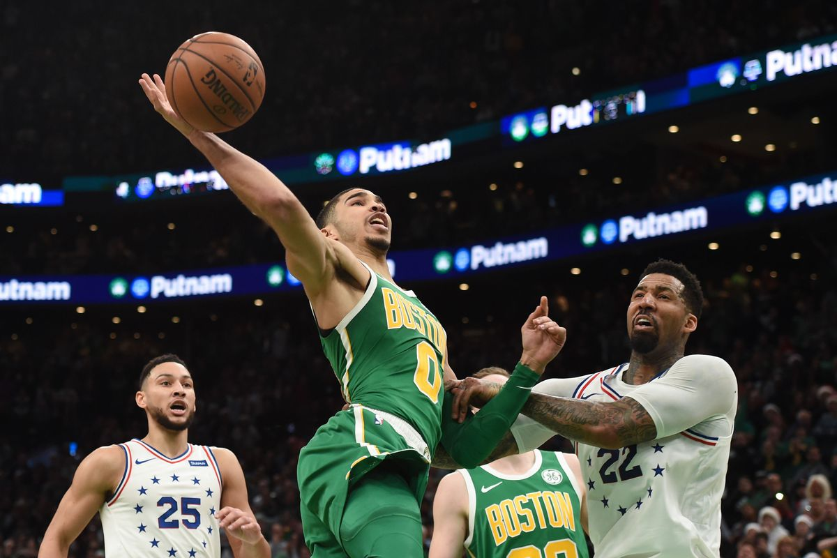 pretty nice e5af1 1a146 Jayson Tatum shows complete game in win over Sixers ...
