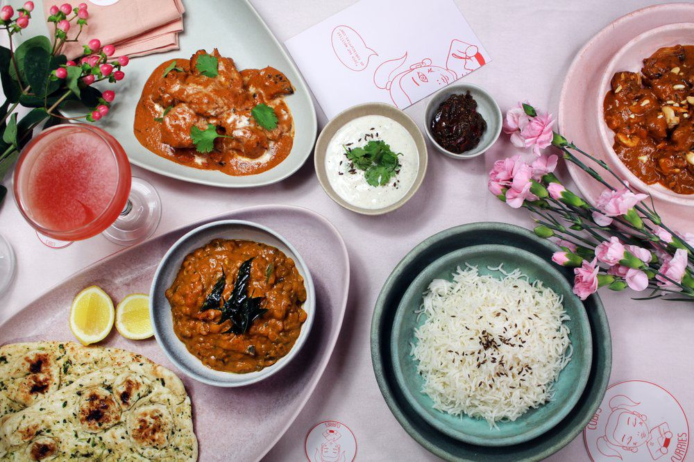 All the curries from Cobi's Curries in Beverly Grove.