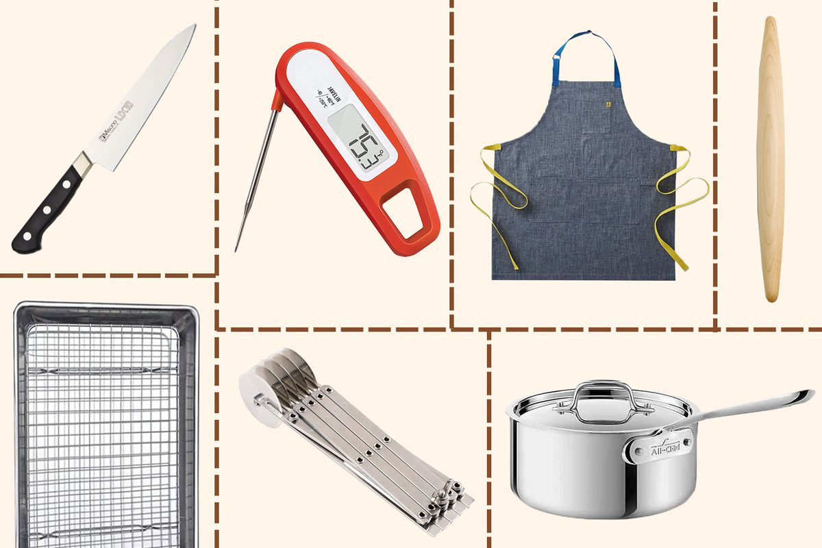Thanksgiving cooking tools, including an apron, meat thermometer, roasting pan, knife, rolling pin, and sauce pan arranged on a grid