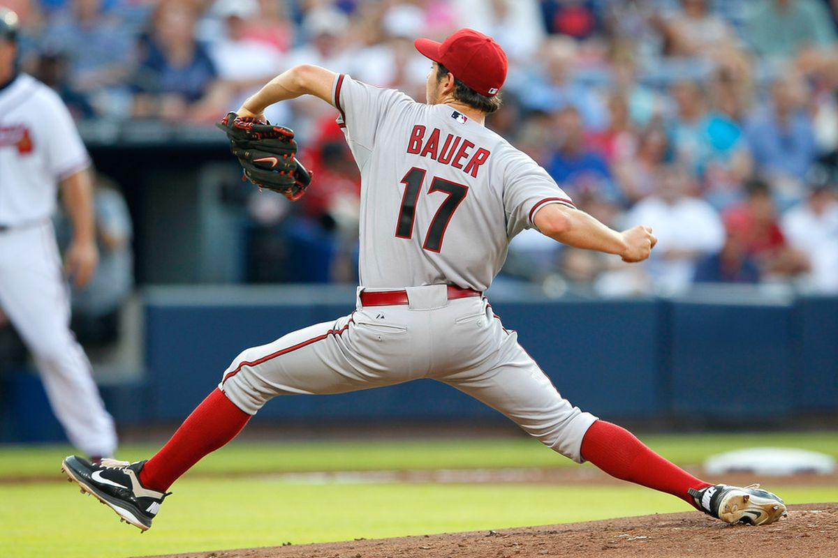 Bauer was dealing against the Dodgers tonight!  (Photo by Kevin C. Cox/Getty Images)