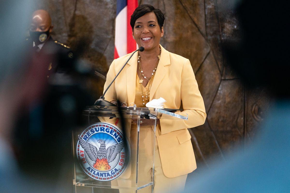 Atlanta Mayor Keisha Lance Bottoms announces that she will not seek reelection at a press conference at City Hall on May 7, 2021 in Atlanta, Georgia.