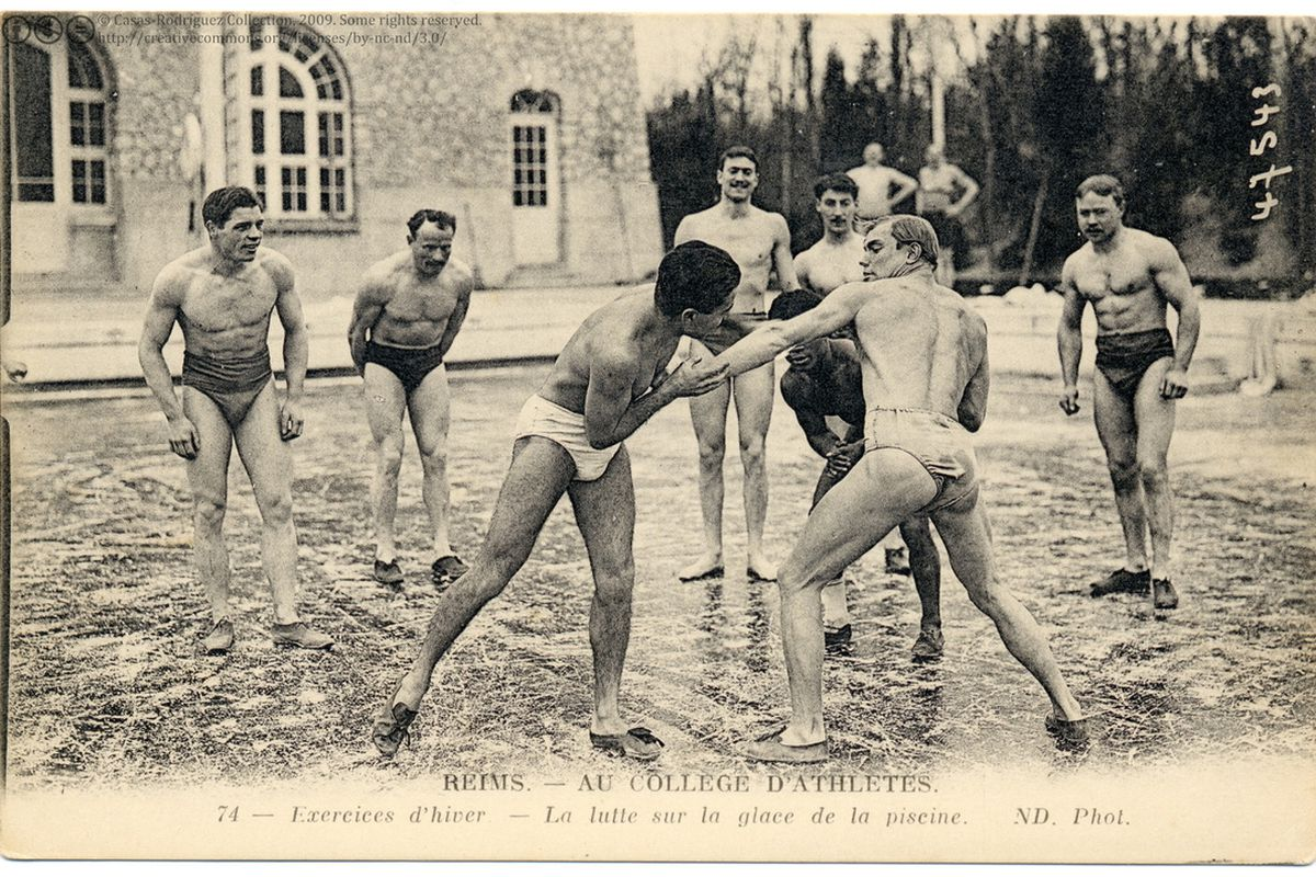 Here are some bros wrestling on a frozen river in 1910 - SBNation.com