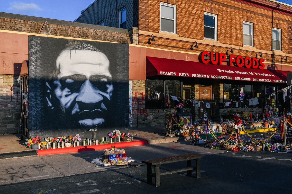A mural of George Floyd is shown in the intersection of 38th St & Chicago Ave on March 31, 2021 in Minneapolis, Minnesota.