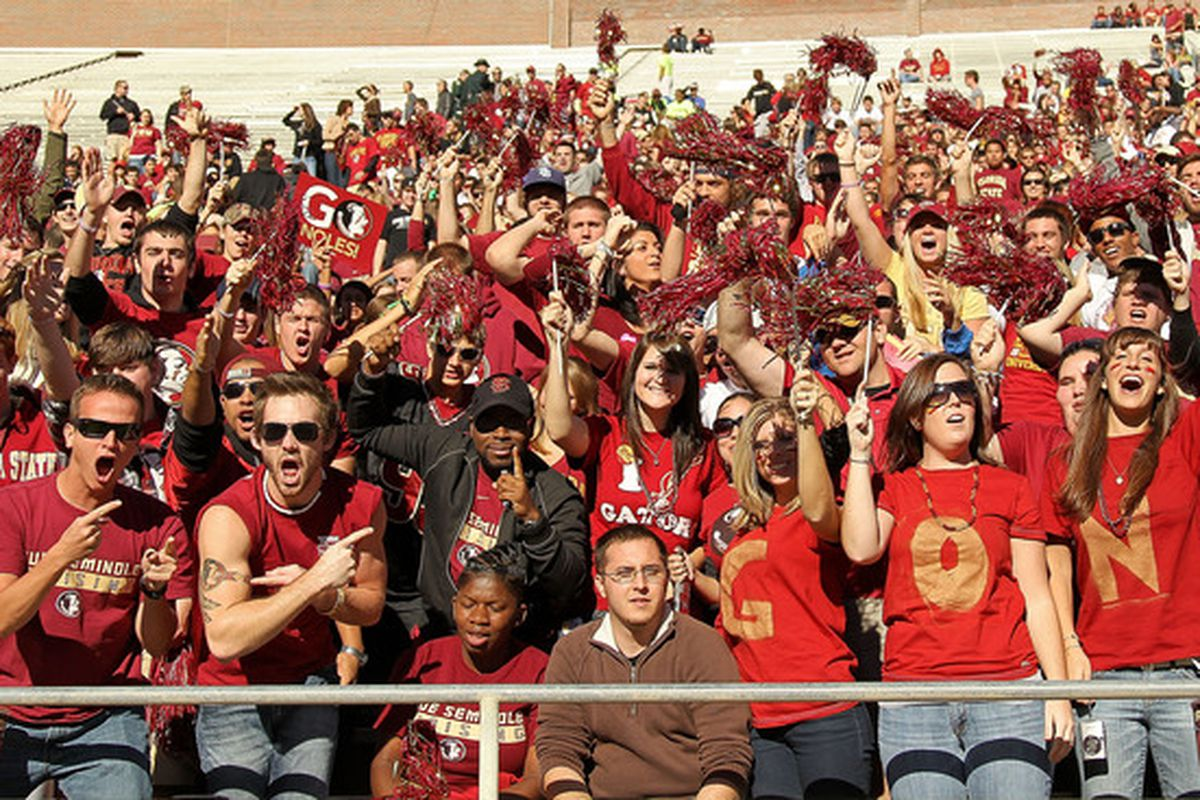 TALLAHASSEE FL - NOVEMBER 27: Florida State Seminoles fans during a game against the Florida Gators at Doak Campbell Stadium on November 27 2010 in Tallahassee Florida.  (Photo by Mike Ehrmann/Getty Images)