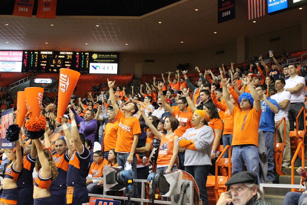 Miner Maniacs with their Picks Up during a UTEP free Throw