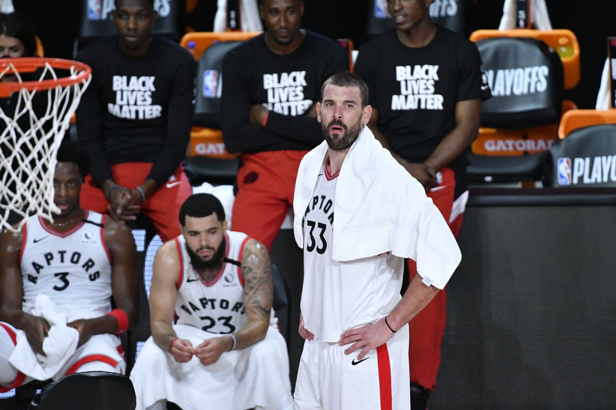 Marc Gasol of the Toronto Raptors looks on during the game against the Boston Celtics during Game Seven of the Eastern Conference Semifinals on September 11, 2020 in Orlando, Florida at AdventHealth Arena.
