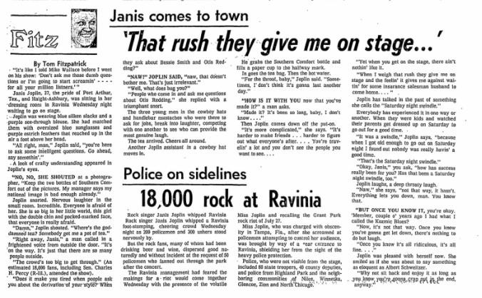 The Sun-Times' Aug. 6, 1970, reports on Janis Joplin's Ravinia Festival appearance.