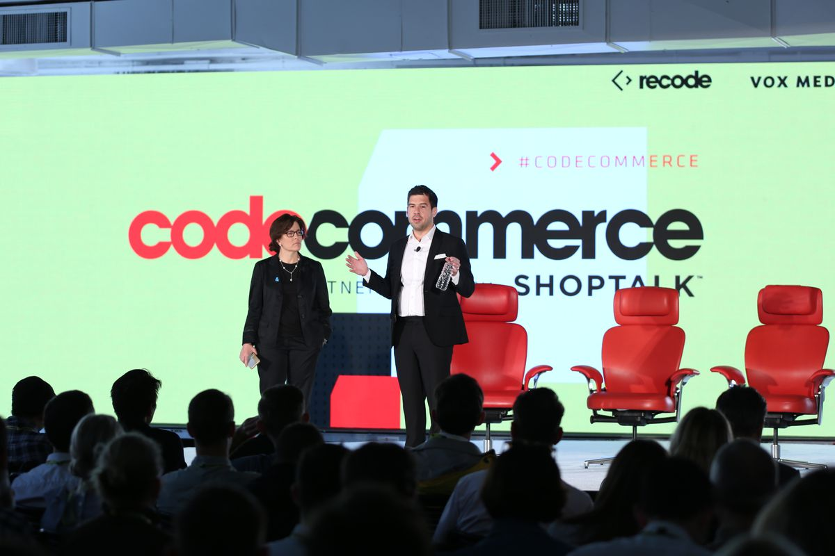 Kara Swisher and Jason Del Rey onstage at Code Commerce