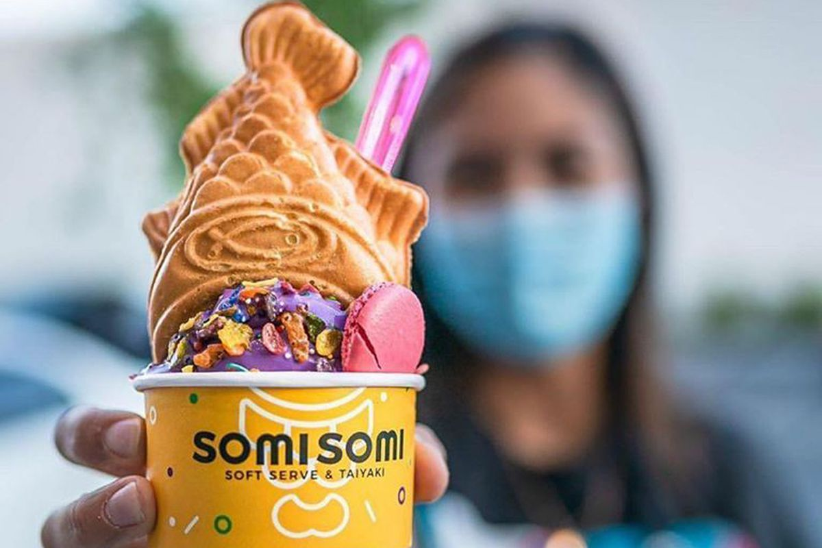 A fish-shaped waffle cone and swirl of soft serve, on the Chinatown menu at SomiSomi.