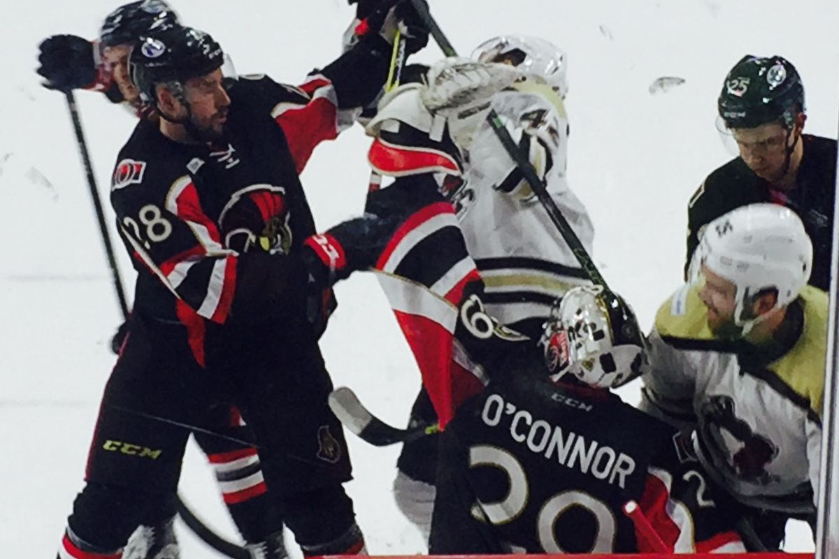 Matt O'Connor in net for the Binghamton Senators in a game with the WB/Scranton Penguins