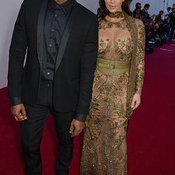 Kanye West and Kim Kardashian, in Cavalli Couture