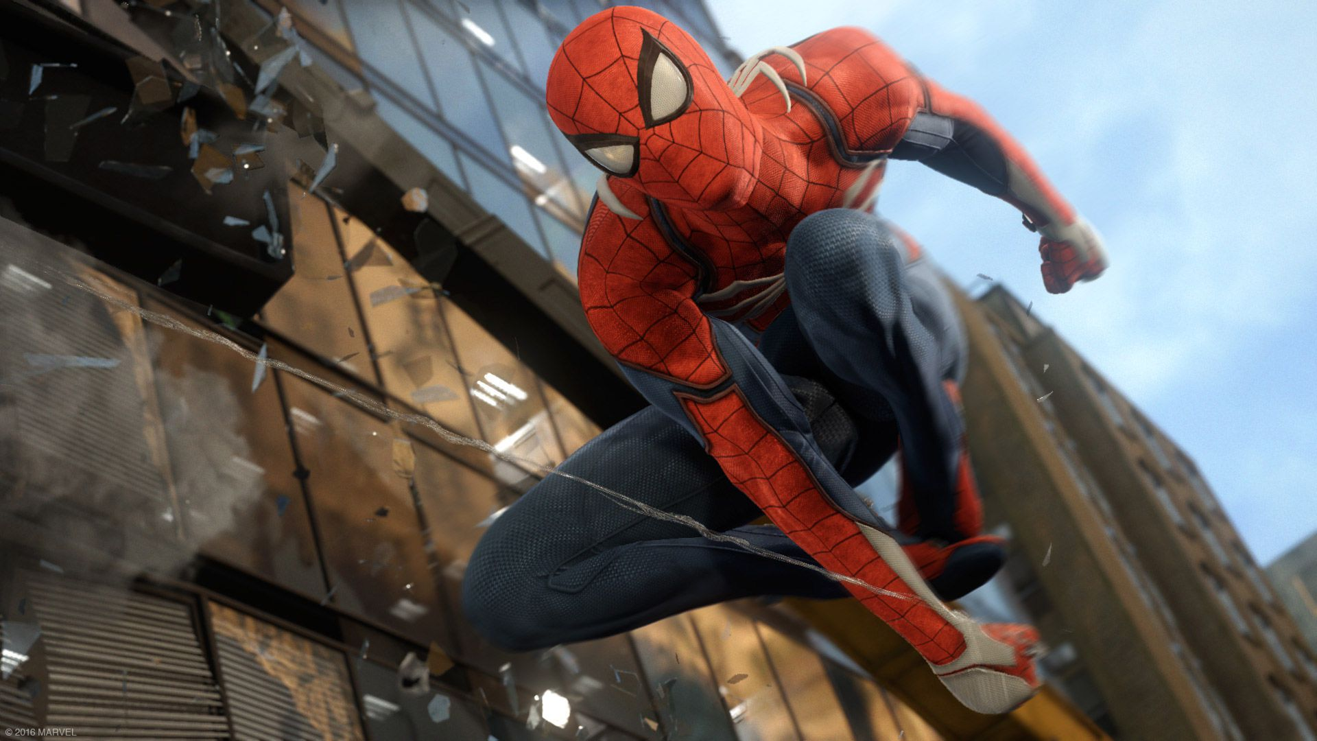 Spider-Man - Spidey swinging past a skyscraper