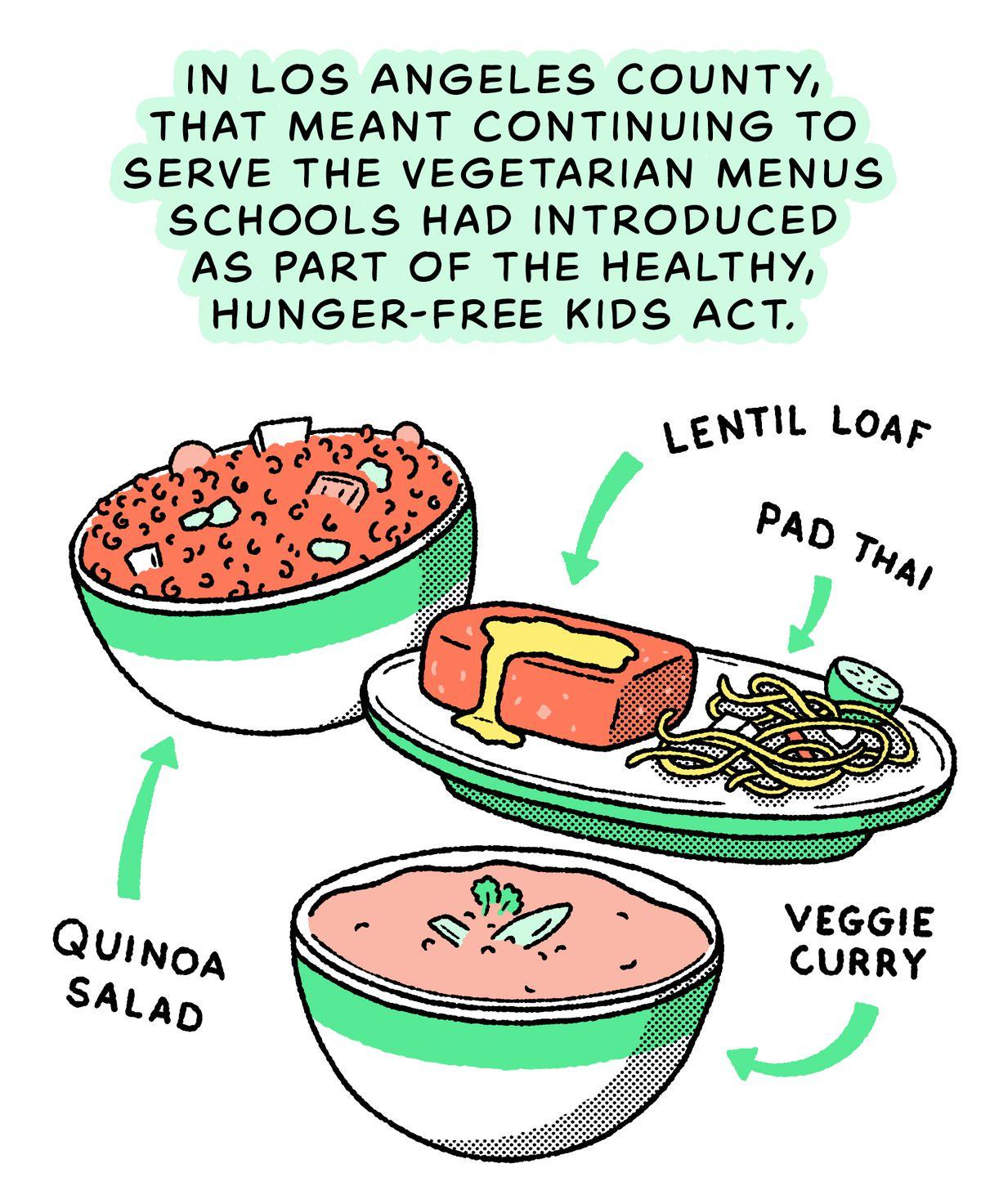 Salade de quinoa, escalopes de lentilles, pad thaï, curry de légumes : dans le comté de Los Angeles, cela signifiait continuer à servir les menus végétariens qu'ils avaient introduits dans le cadre du Healthy Hunger-Free Kids Act.