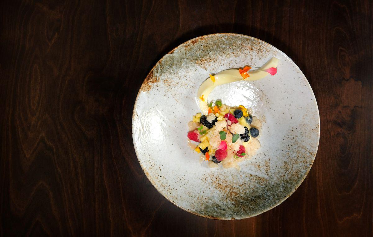 Yuzu, pineapple, berries, lychee granita, and Italian meringue