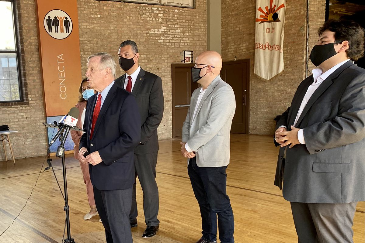 Senate Judiciary Chairman Dick Durbin, D-Ill. (left) andSen. Alex Padilla, D-Calif (center-left) pushed immigration reform at a press conference in Little Village Friday.