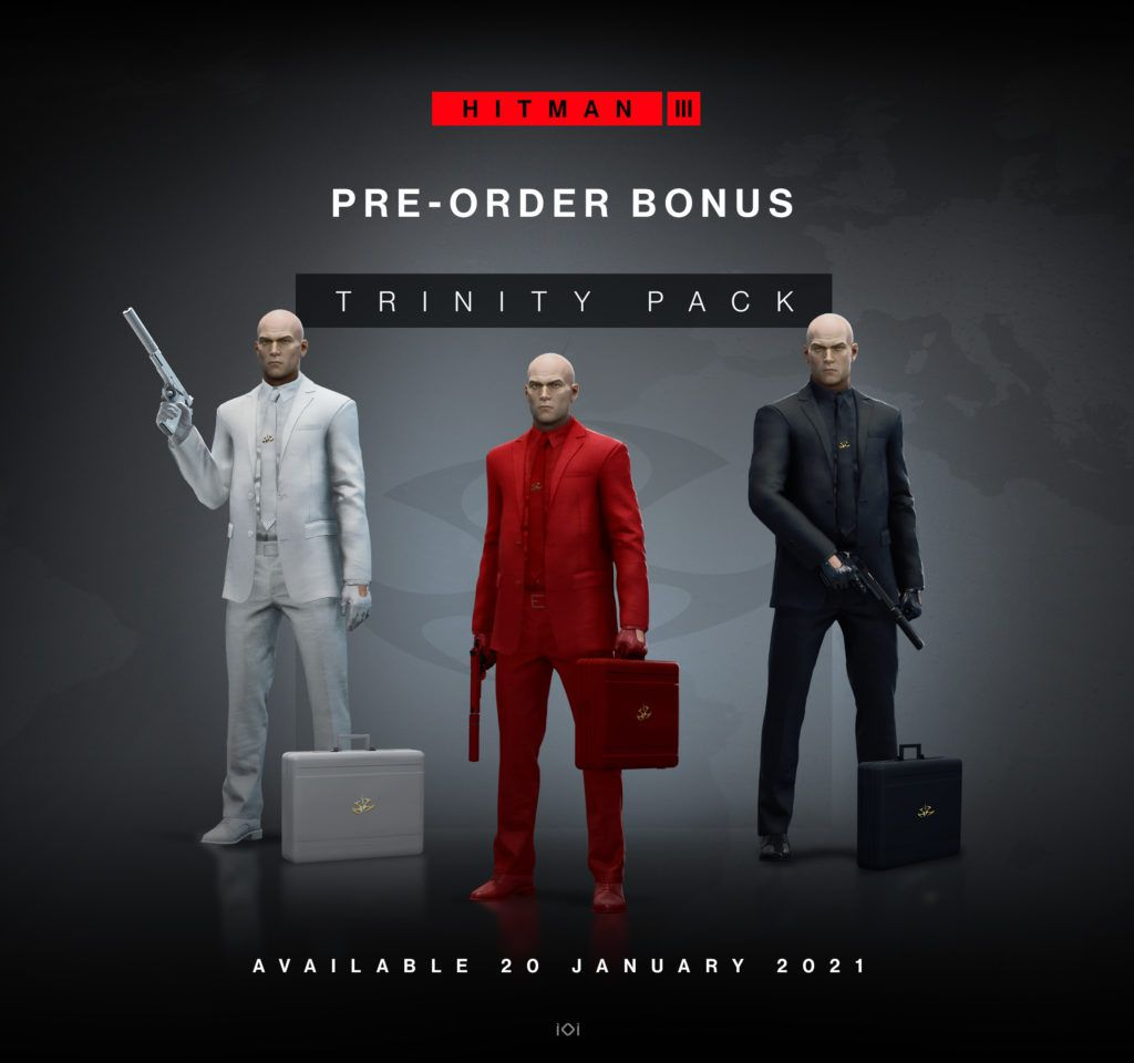 the three suits in the Hitman 3 Trinity Pack pre-order bonus: white, red, and black