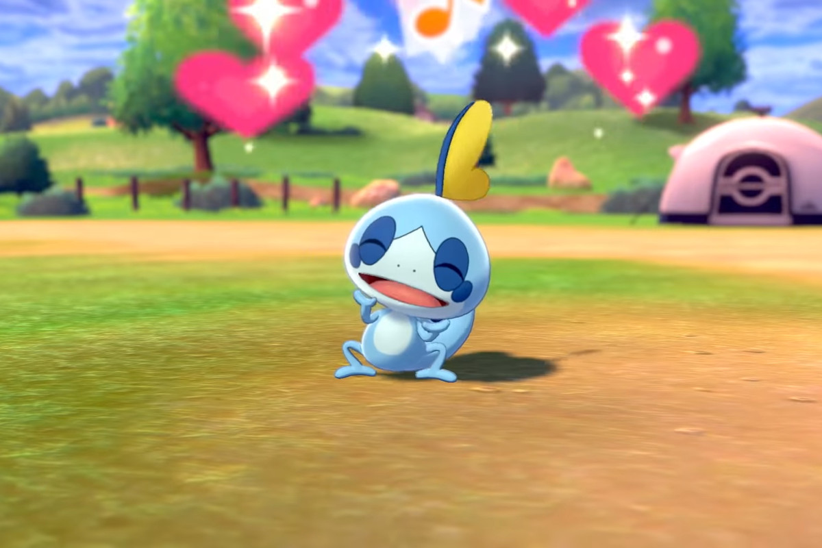Sobble with some hearts floating above its head