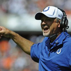 Indianapolis Colts head coach Chuck Pagano shouts out to his team during the first half of an NFL football game against the Chicago Bears in Chicago, Sunday, Sept. 9, 2012.