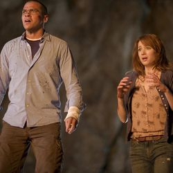 Holden (Jesse Williams) and Dana (Kristen Connolly) in THE CABIN IN THE WOODS.