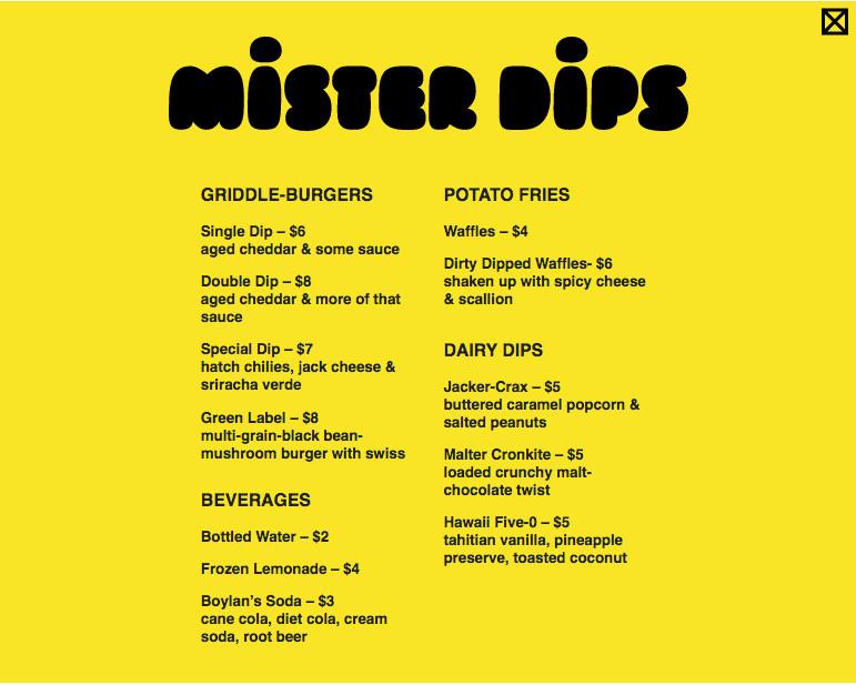 Mister Dips menu