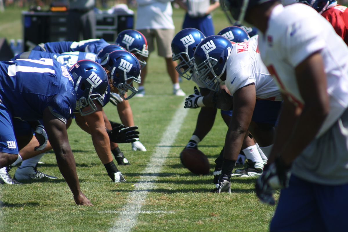 Members of the New York Giants finally get to line up against an opponent other than themselves on Friday night. (Photo by Ryan Valentine/Big Blue View)