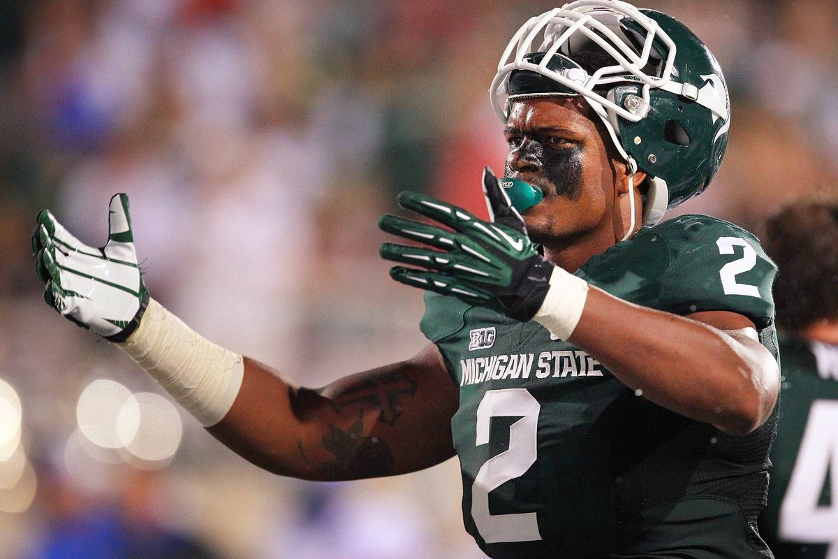 August 31, 2012; East Lansing, MI, USA; Michigan State Spartans defensive end William Gholston (2) reacts after call during the second half at Spartan Stadium. MSU won 17-13    Mandatory Credit: Mike Carter-US PRESSWIRE