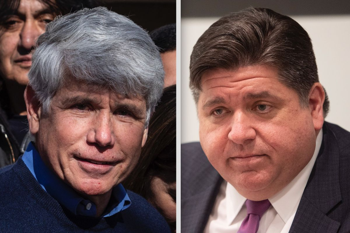 Former Gov. Rod Blagojevich, left, speaks to reporters outside his home Wednesday; Gov. J.B. Pritzker, right, meets with the Sun-Times Editorial Board Thursday.