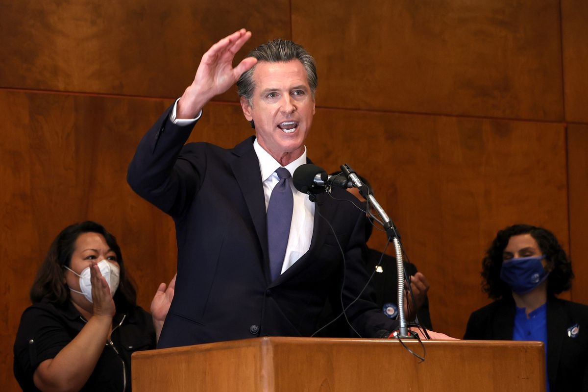 California Gov. Gavin Newsom speaks to union workers and volunteers on election day at the IBEW Local 6 union hall on Sept. 14, 2021, in San Francisco, California.