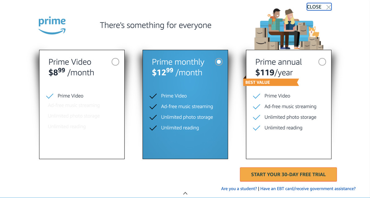 Besides its basic plan, Amazon offers video-only and plans for students and EBT / Medicaid users.